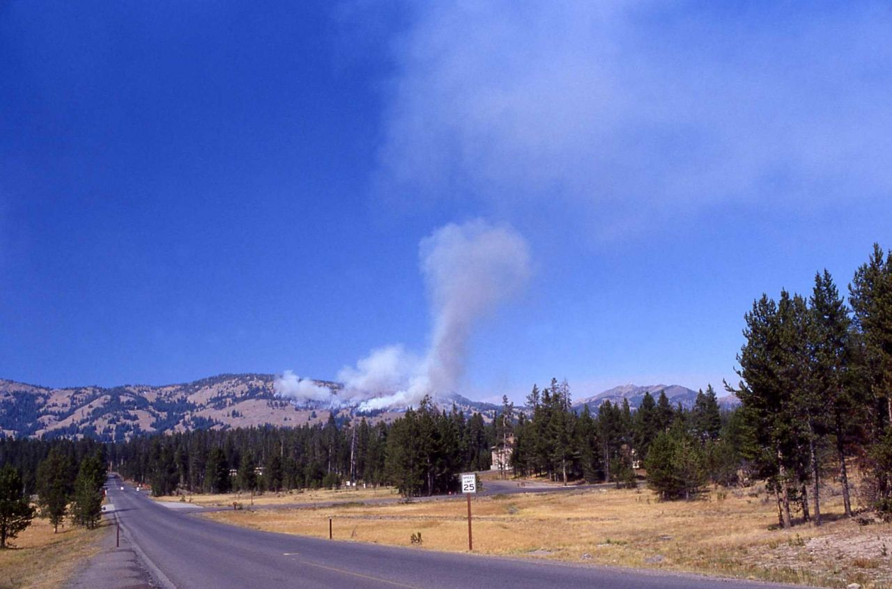 Small smoke column rising in blue sky from Washburn Range - seen from Canyon Junction Photo