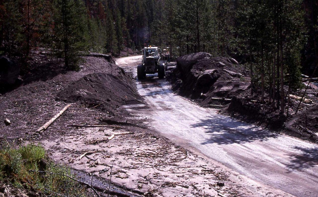 Work crew clearing mudslide in Gibbon Canyon - Erosion/Geology Photo