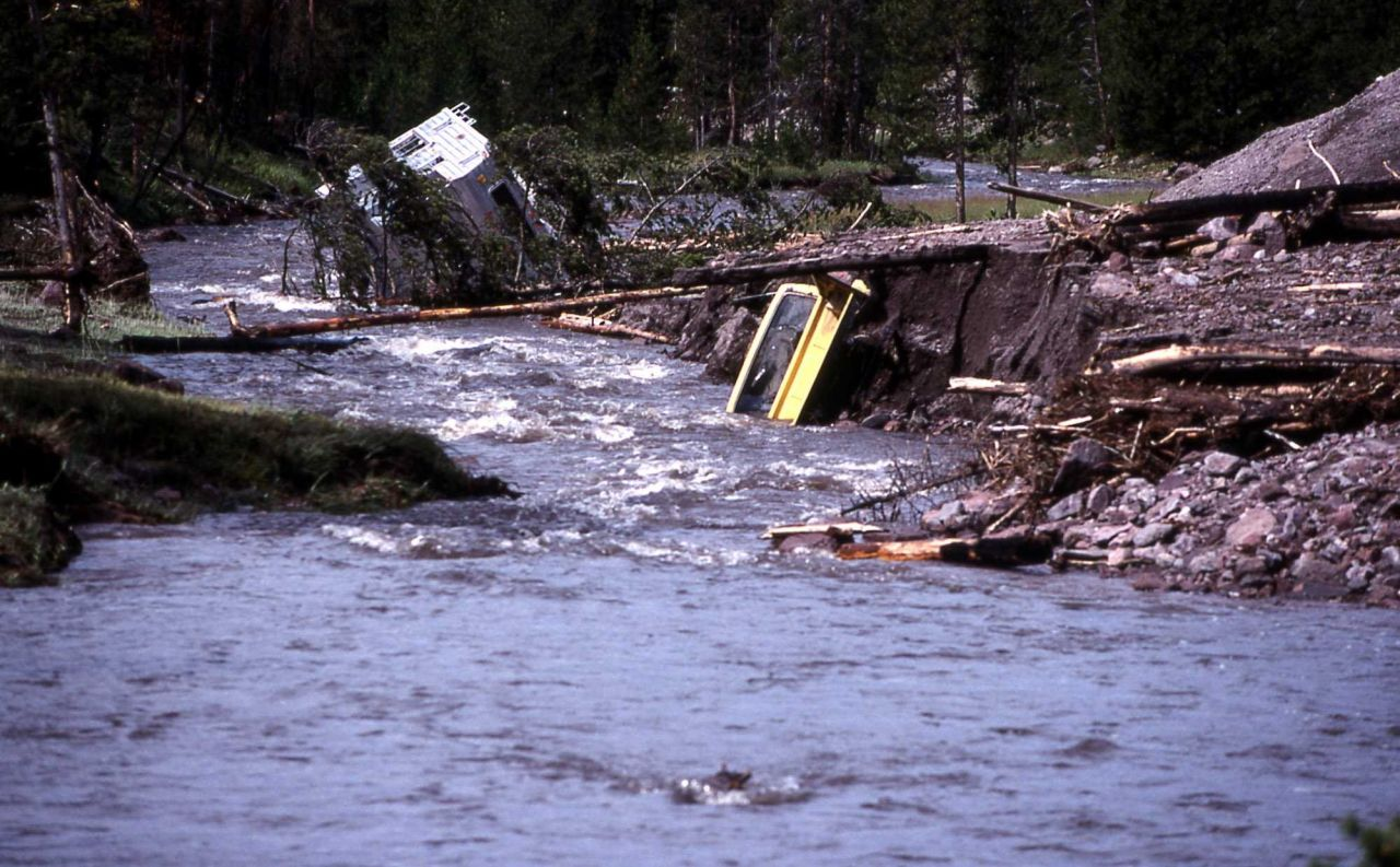 Camper caught in mudslide in Gibbon Canyon - Erosion/Geology Photo