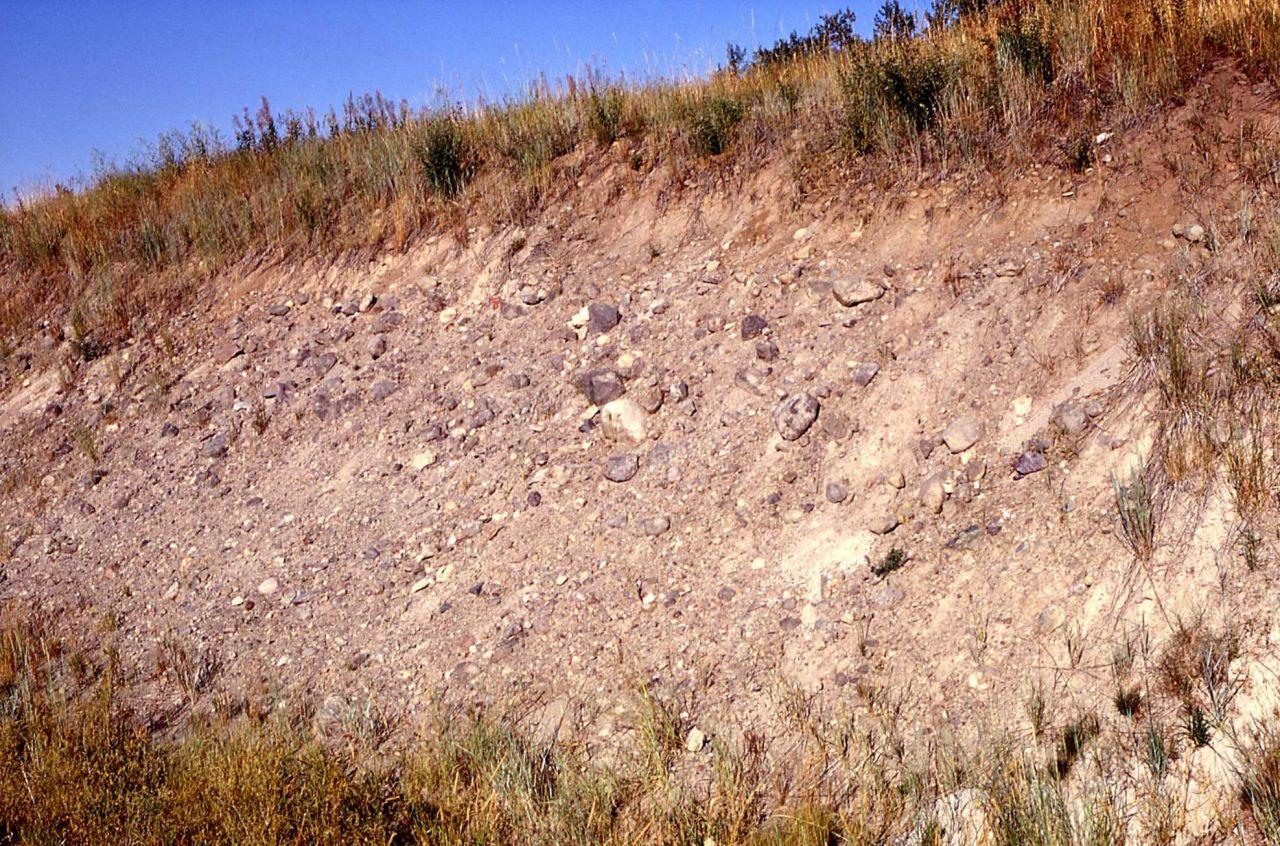 Road cut through Bull Lake moraine, Gallatin Highway - Geology - Glacial Photo