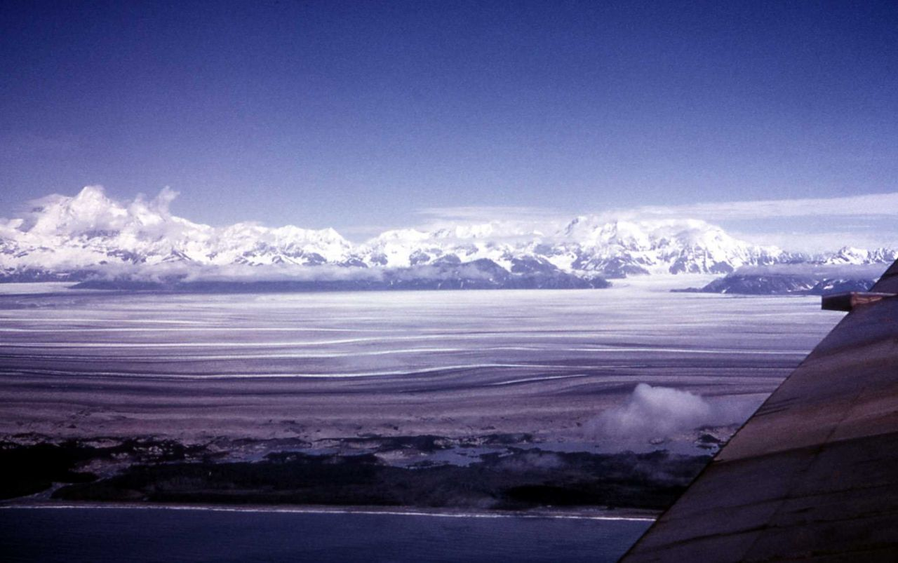 Aerial view of Malaspina Glacier, Alaska - Geology - Glacial Photo