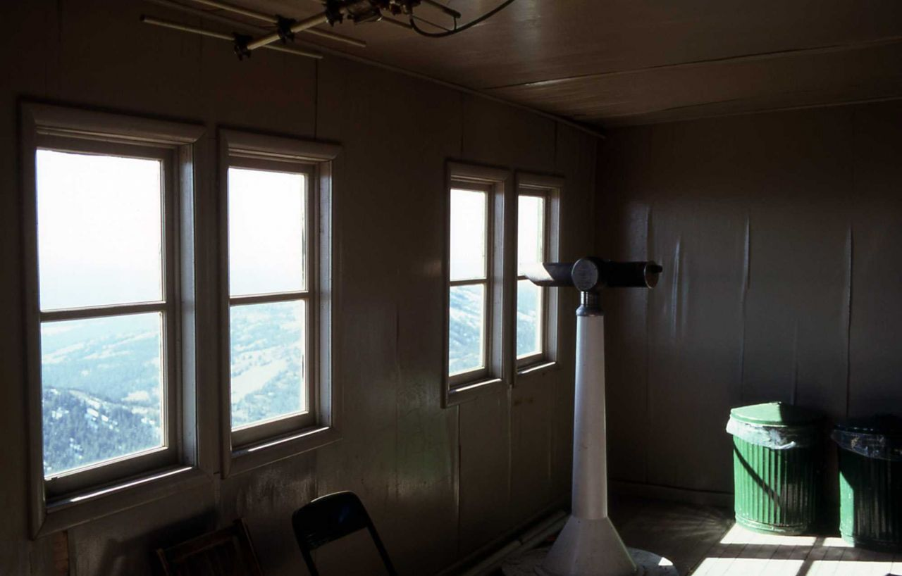 Interior of Mt Washburn fire lookout Photo