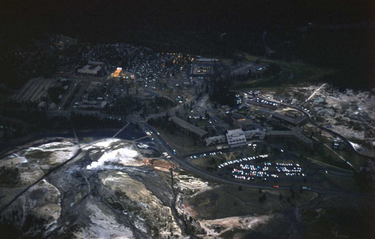 Aerial view of the Old Faithful area Photo