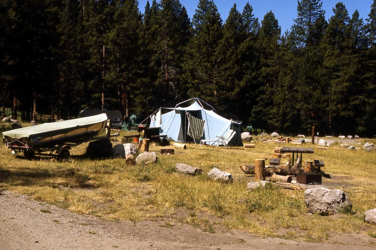 Campsite at Old Faithful campgorund (no longer exists) Photo