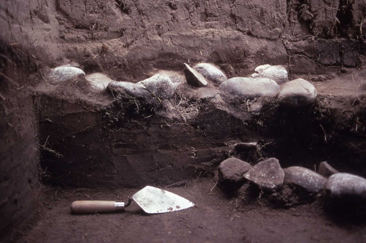 Cooking hearths - two dig levels upper level 1200 AD, lower level Pelican Lake culture - History - Indians Photo