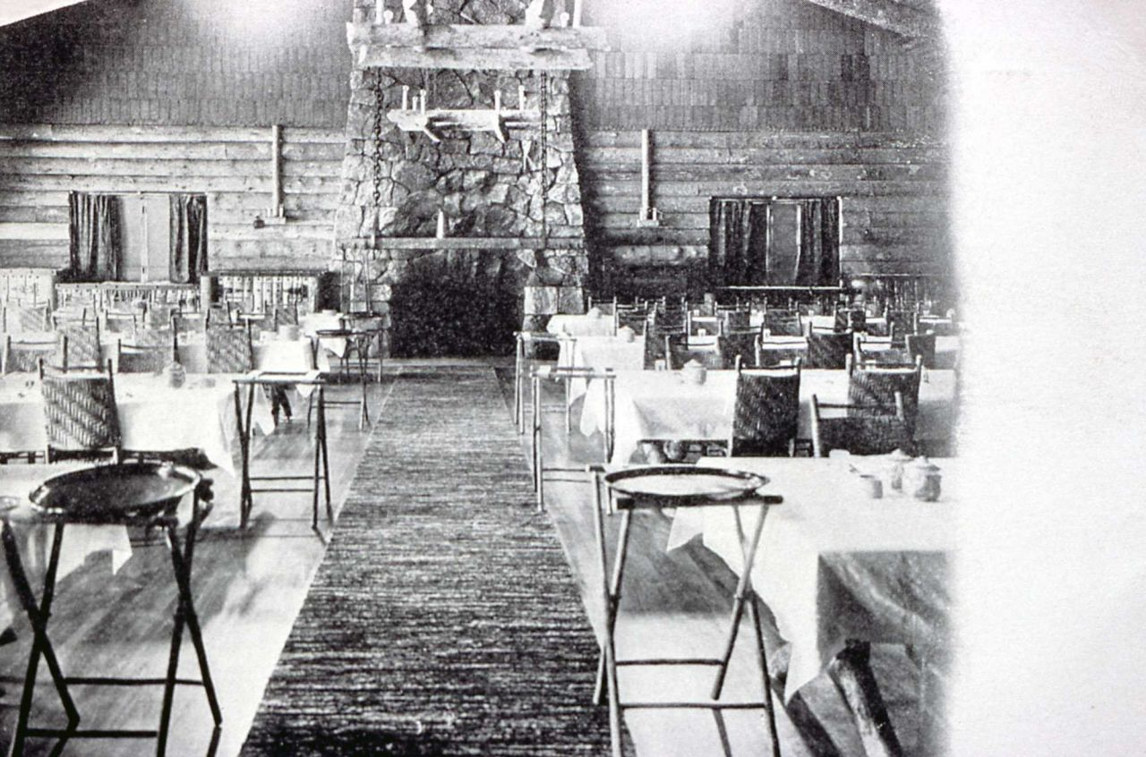 Interior of the dining room at Old Faithful Inn Photo