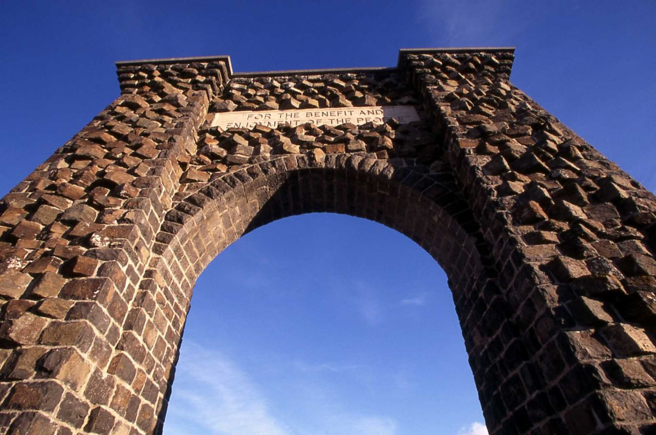 Roosevelt Arch at the north entrance to Yellowstone National Park Photo