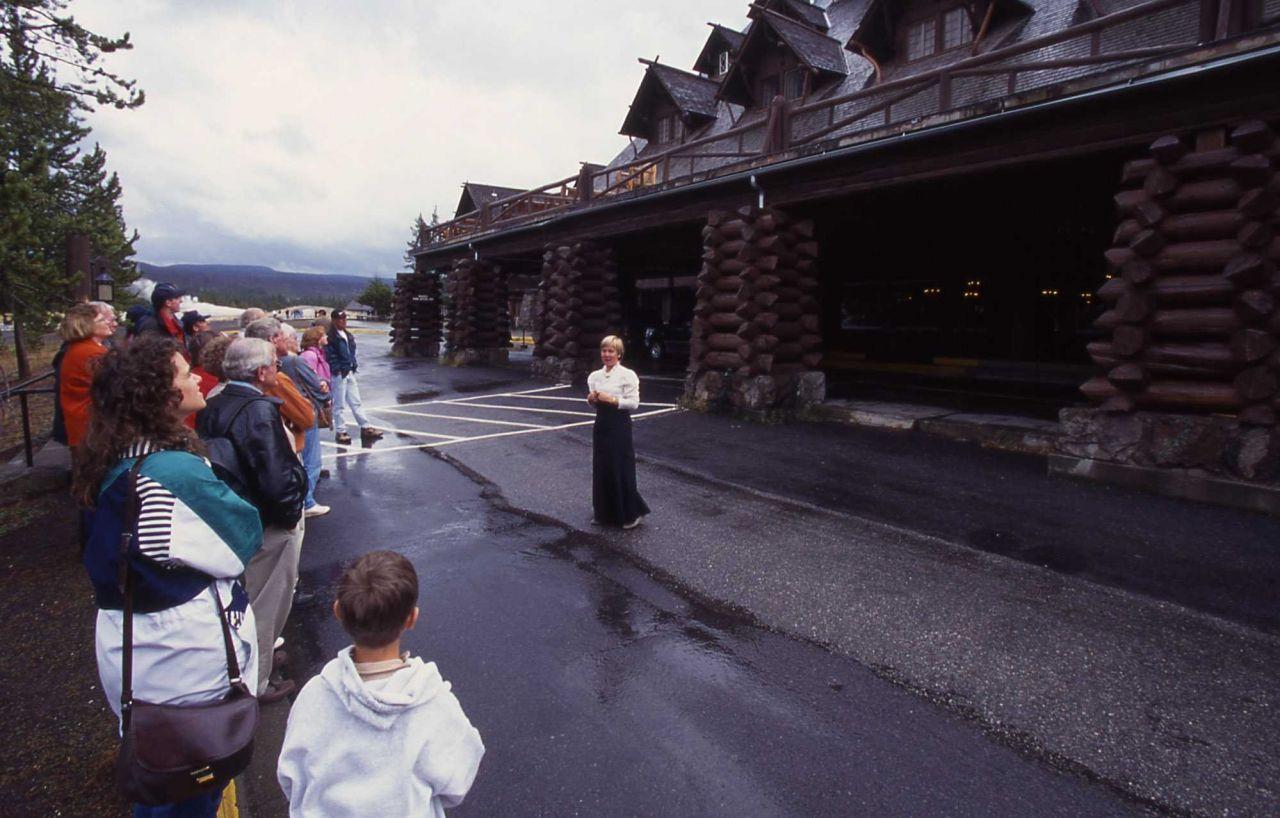 Dawn Inafuku giving a chambermaid tour at Old Faithful Inn Photo