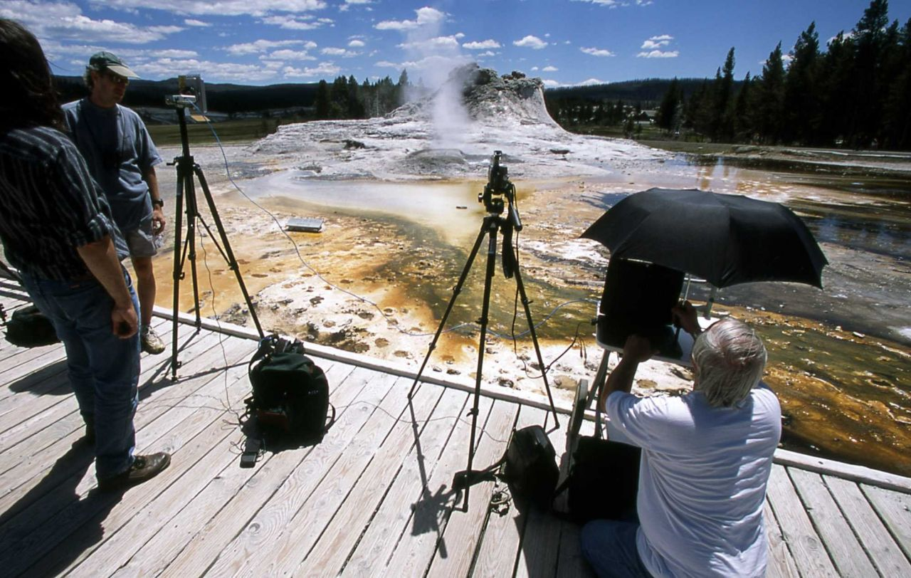 Filming for Yellowstone's Electronic Field Trip Photo