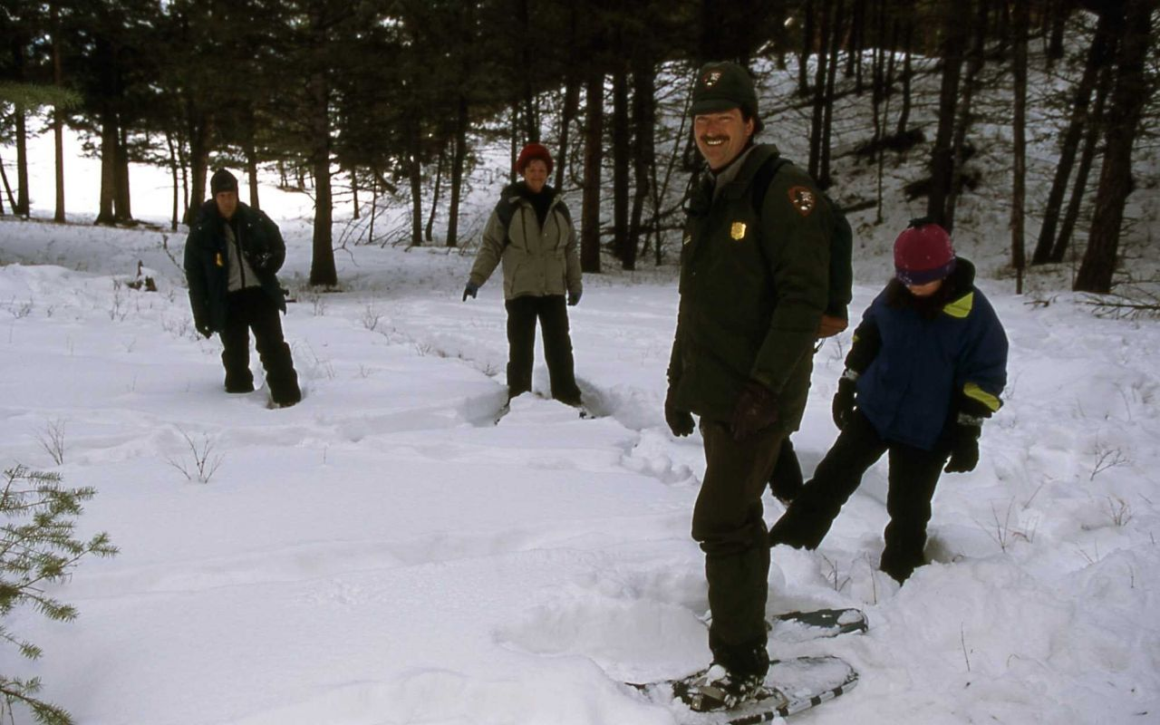 Brian Suderman leading snowshoe walk Photo