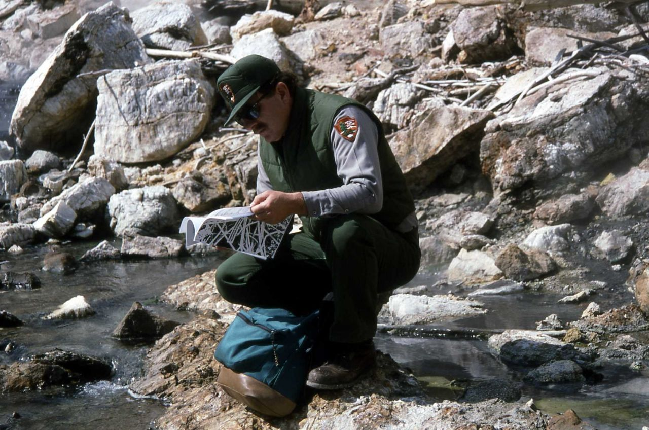 Bob Lindstrom conducting thermophile survey at Calcite Springs Photo