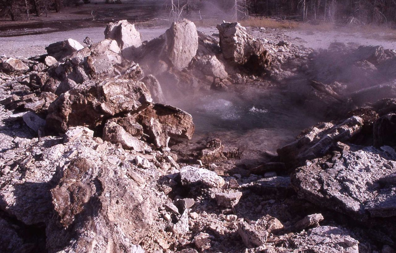 Porkchop Geyser after its explosion on September 5, 1989 - Norris Geyser Basin Photo