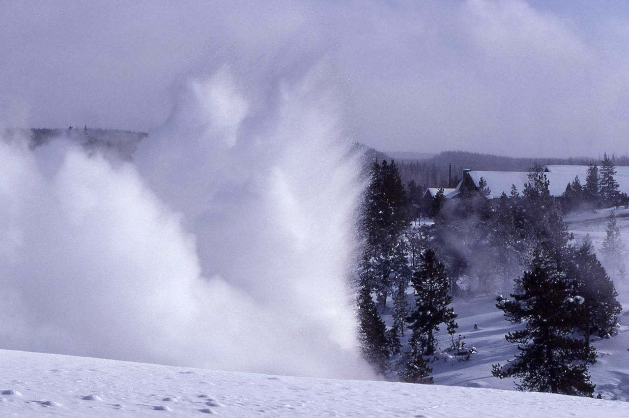 Cascade Geyser as seen from Plume Geyser area - Upper Geyser Basin Photo