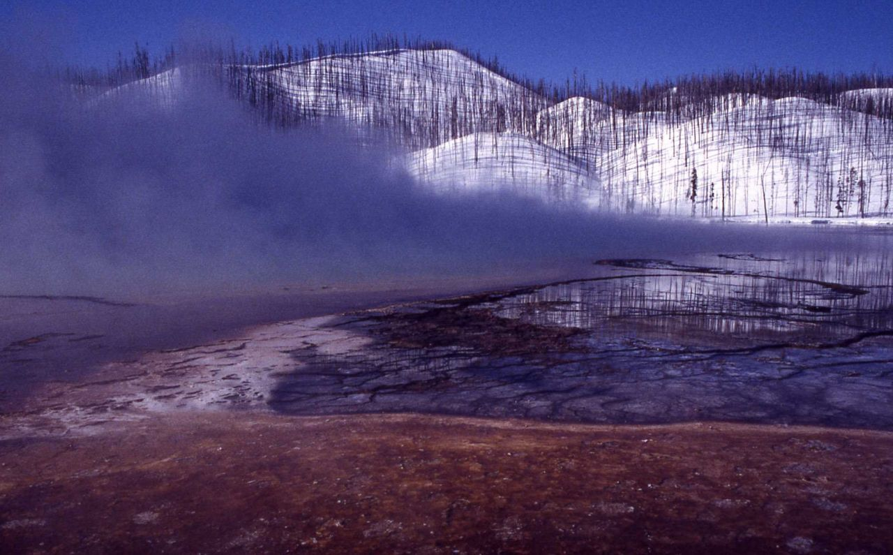 Grand Prismatic Spring - Silica terraces-cyano bacteria - Hot Springs, Midway & Lower Geyser Basin Photo