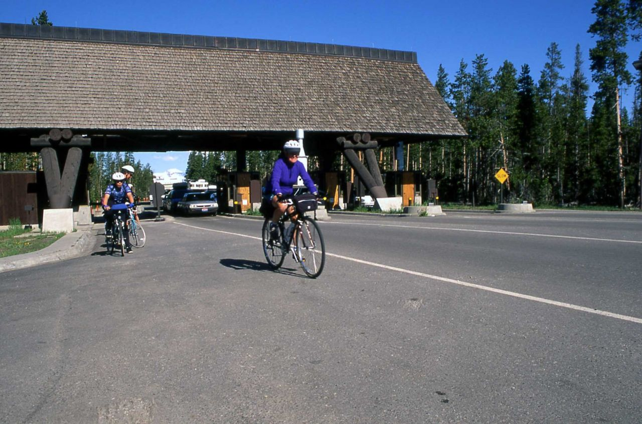 Cyclists at the West Entrance Photo