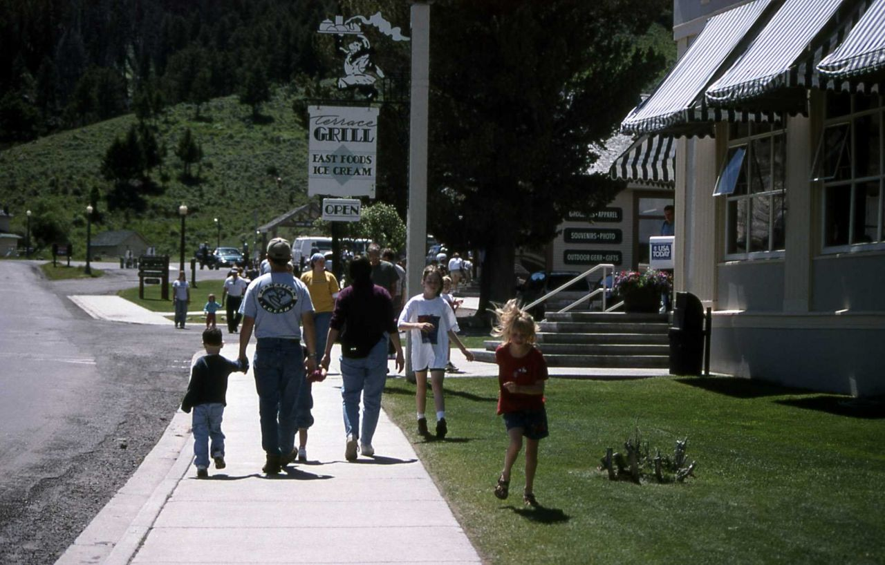 Visitors by Terrace Grill in Mammoth Hot Springs Photo