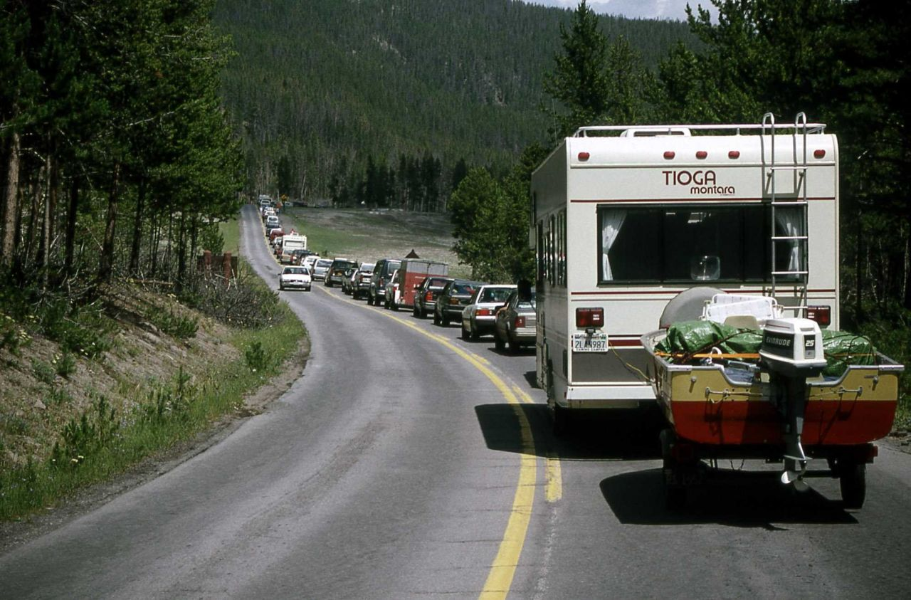 Traffic jam due to logging operation Photo