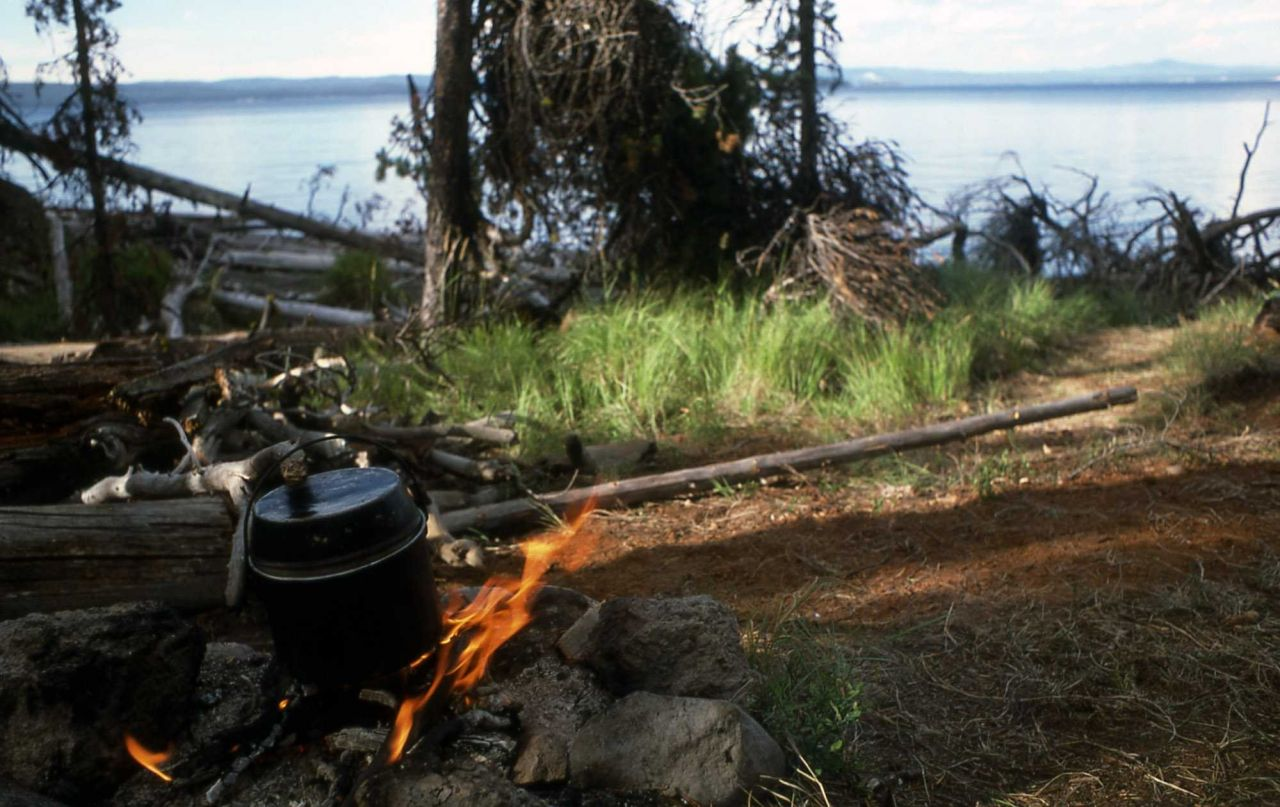 Backcountry camp on the shore of Yellowstone Lake Photo