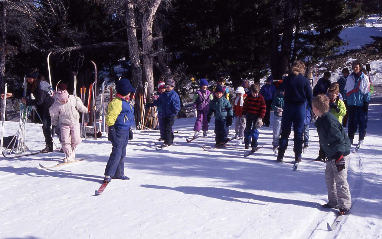 Gardiner school children learning to cross country ski at Terrace Drive in the winter Photo