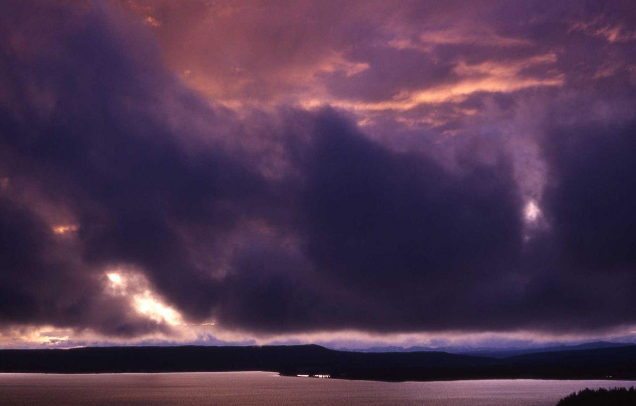 Storm clouds on Yellowstone Lake Photo