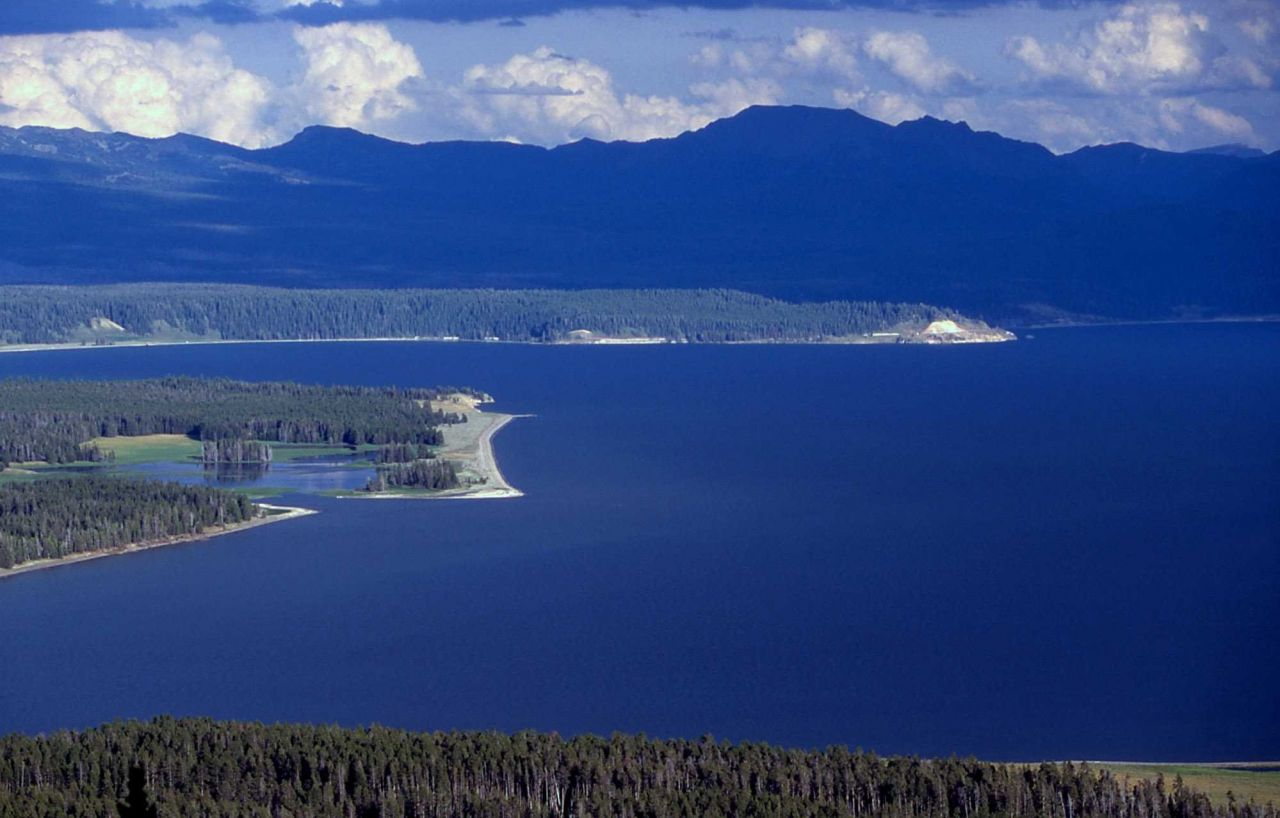 Mouth of Pelican Creek & Mary Bay on Yellowstone Lake as seen from Elephant Back trail Photo