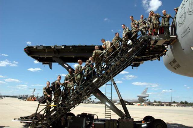 Halvorson Air Stairs Kit-modified cargo loader, or HASK - McGuire Air Force Base, N.J - Air Mobility Battlelab combines cargo, passenger loaders Picture