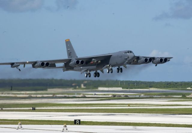 A B-52 Stratofortress armed with four Mk 56 mines - Andersen Air Force Base - Air Force, Navy wrap up joint mine exercise Picture