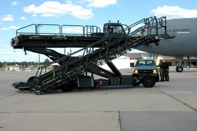 Halvorson Air Stairs Kit, or HASK, modified cargo loader - McGuire Air Force Base, N.J - Air Mobility Battlelab combines cargo, passenger loaders Picture