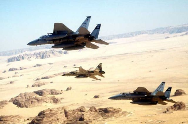 F15 - Two F15s and an AT-38 over the desert Picture