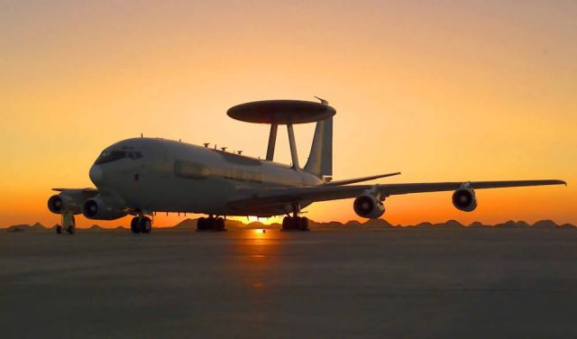 Airborne Warning and Control System - Sun sets on AWACS mission Picture
