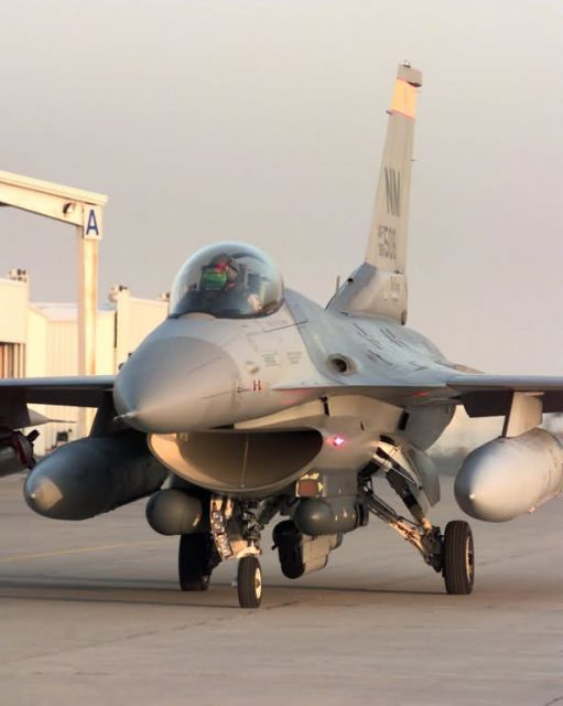 A New Mexico Air National Guard F-16C Fighting Falcon taxis Picture