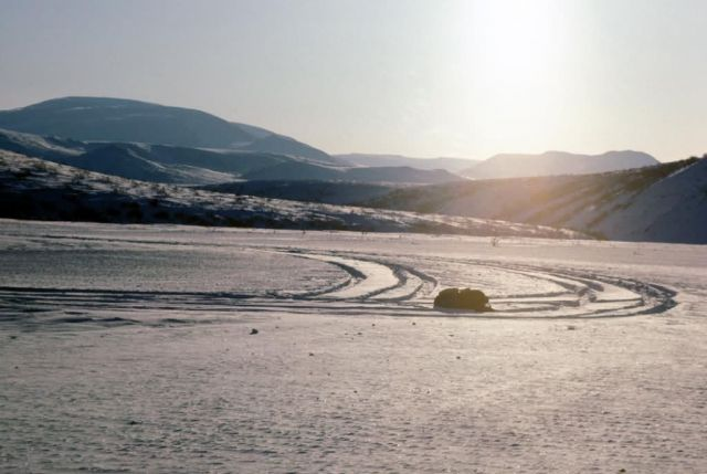 Airplane Tracks in the Snow on the Noatak River Picture