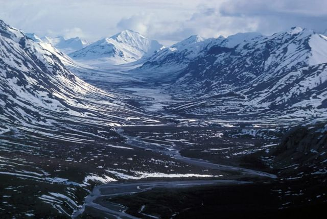 Noatak River and Glacial Valley - Aerial View Picture