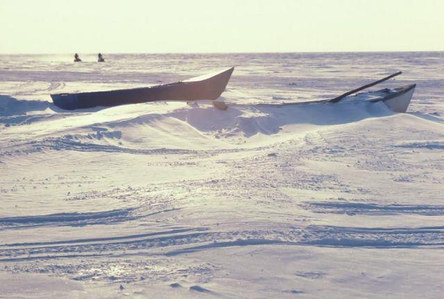 Small Kotzebue Boats at Kotzebue Sound in Winter Picture