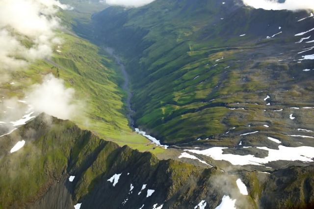 Mountain Peaks and River Valley - Aerial View Picture
