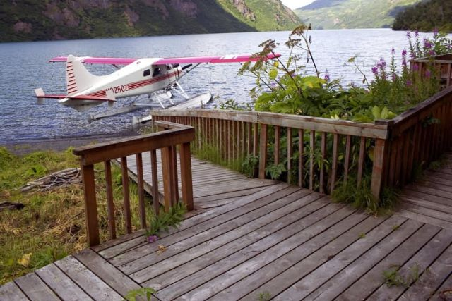 USFWS Uganik Lake Cabin Deck and Floatplane Picture