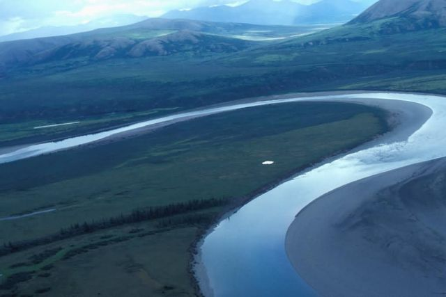 Lower Half of Noatak River in Summer - Aerial View Picture