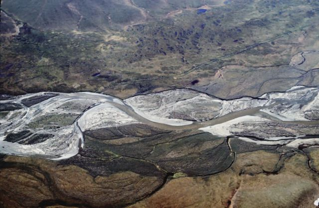 Braided River and Road Scars in Summer - Aerial View Picture