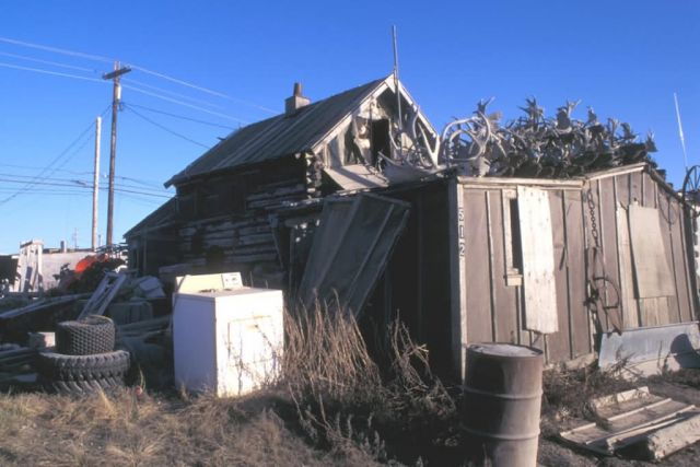Kotzebue Log Home and Caribou Antlers Picture