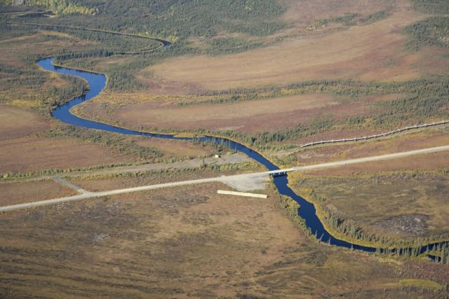 Kanuti River, Dalton Highway, and Trans Alaska Pipeline Picture