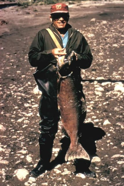 Fisherman with King Salmon Picture