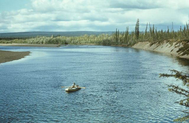 Will Troyer in Raft on Lower Coleen River Picture