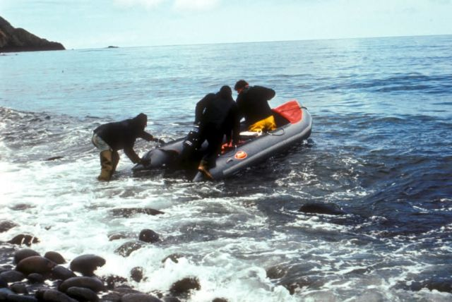 Buldir Island Biologist launching avon raft in the Aleutians Picture
