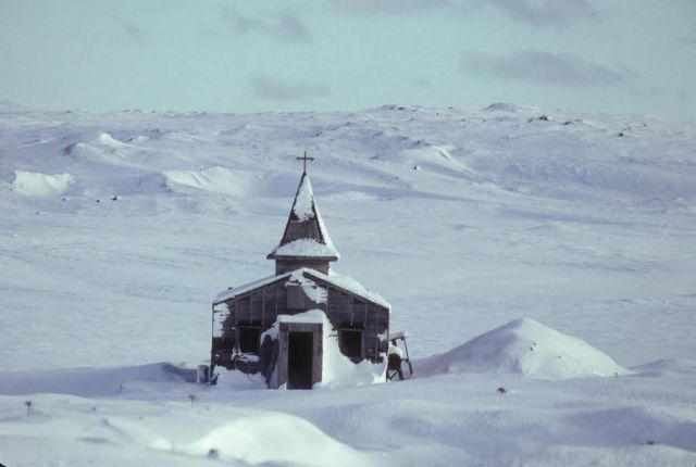 WW II Church in Winter on Amchitka Island Picture