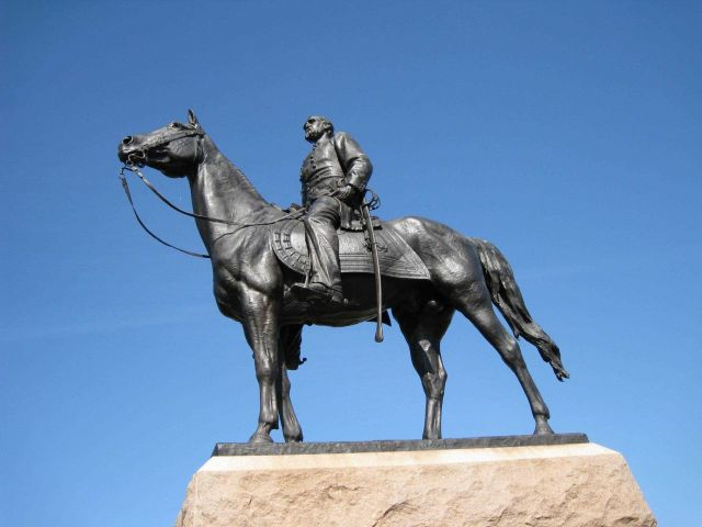 Statue of George Gordon Meade, the victorious general at the Battle of Gettysburg. Picture