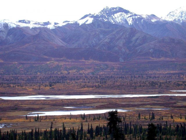 Mountains, valley and river in the fall. Picture