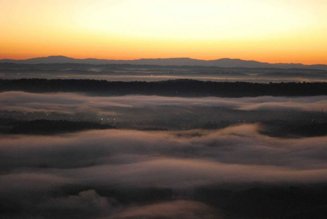 Early morning valley fog fills the river valleys between Missionary Ridge and the Appalachian Mountains far to the east Picture