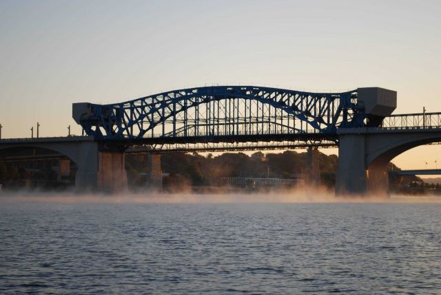 Early morning advection fog over the Tennessee River below the Market Street Bridge and Walnut Street Bridge. Picture