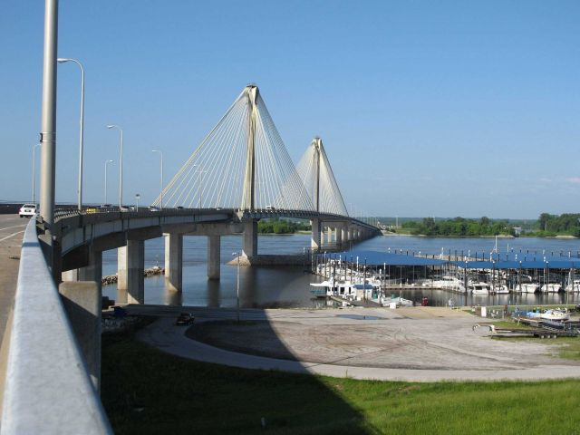 The Mississippi River Bridge at Alton, Illinois, looking west. Picture