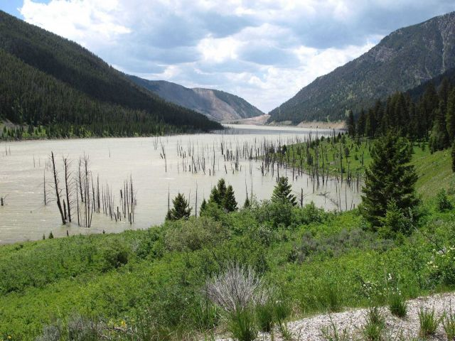 Quake Lake, formed on August 17, 1959, from a great landslide damming the Madison River following a 7.5 magnitude earthquake known as the Hebgen Lake  Picture